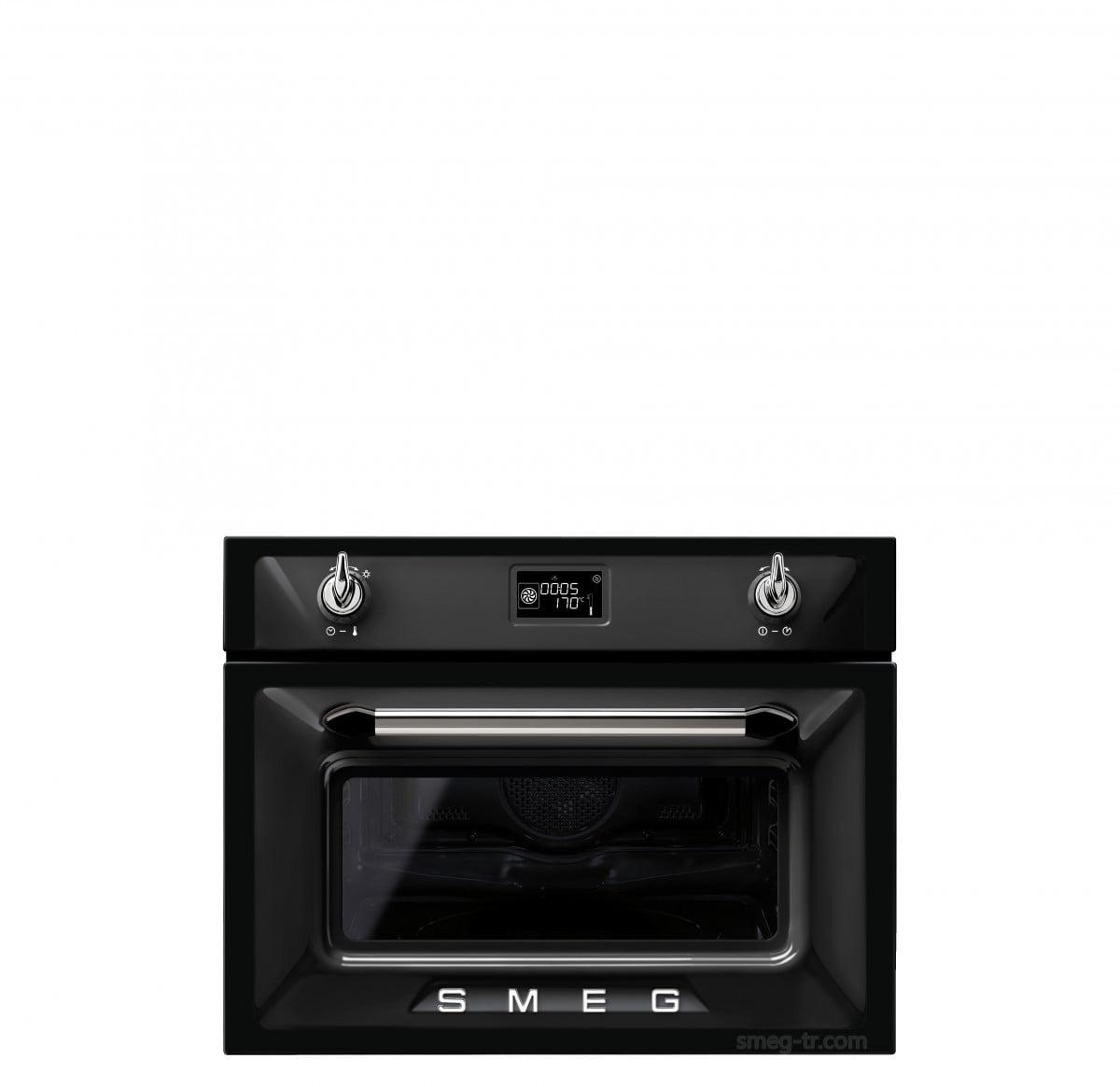 Smeg Victoria SF4920VCN Siyah/Gümüş Kombi Buharlı Fırın